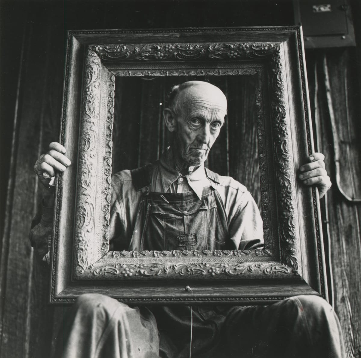 Arthur Tress, Farmer and Picture Frame, NC, 1968