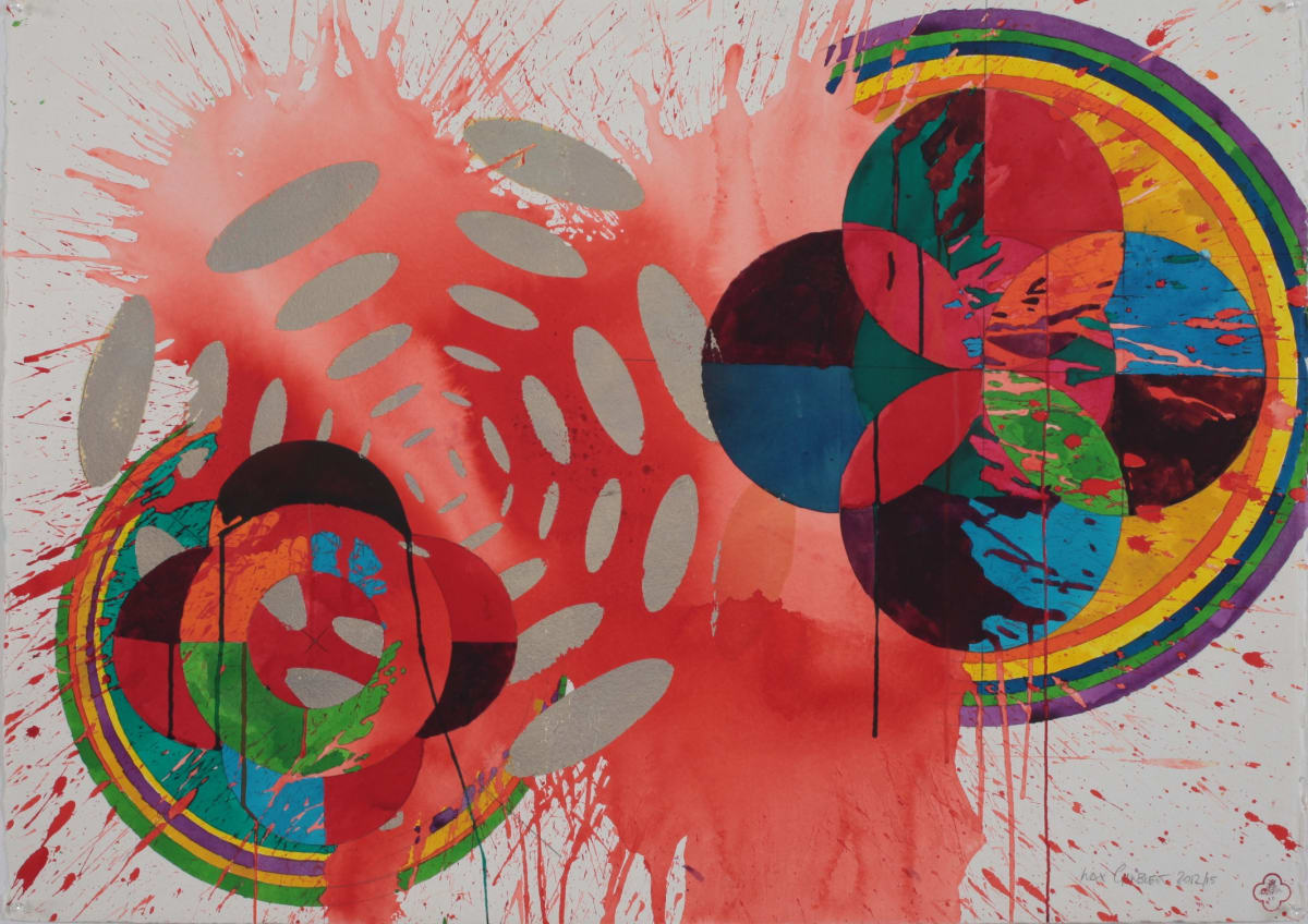 Max GIMBLETT Gilded Oasis, 2012/15 Mixed media on paper 30 x 41 in 76.2 x 104.1 cm