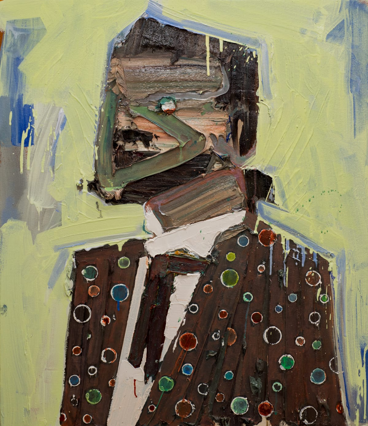 Toby Raine Brandon Flowers with Moustache and Fancy Jacket (Sam's Town), 2017 Oil on canvas 27.8 x 23.8 in 70.5 x 60.5 cm