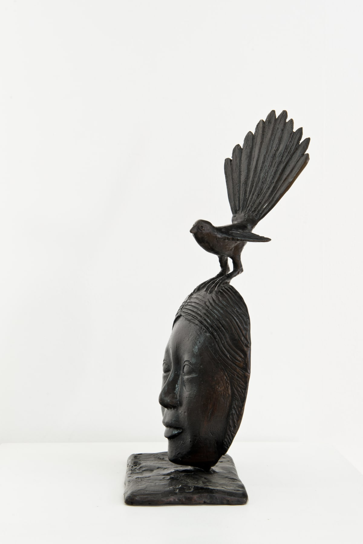 Paul DIBBLE Fantail on Polynesian Mask, 2014 Cast Patinated Bronze 16.9 x 7.9 x 5.5 in 43 x 20 x 14 cm