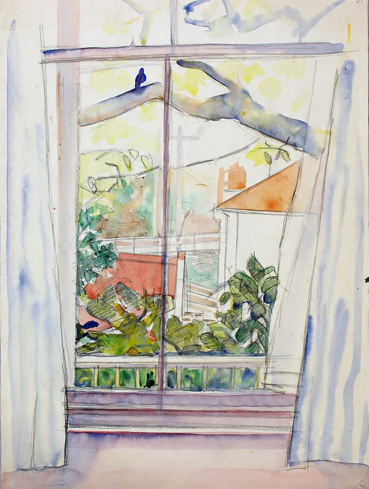 Rita Angus View From Studio Window, Thorndon, 1960s Watercolour and pencil on paper 15 x 11 in 38.1 x 28 cm