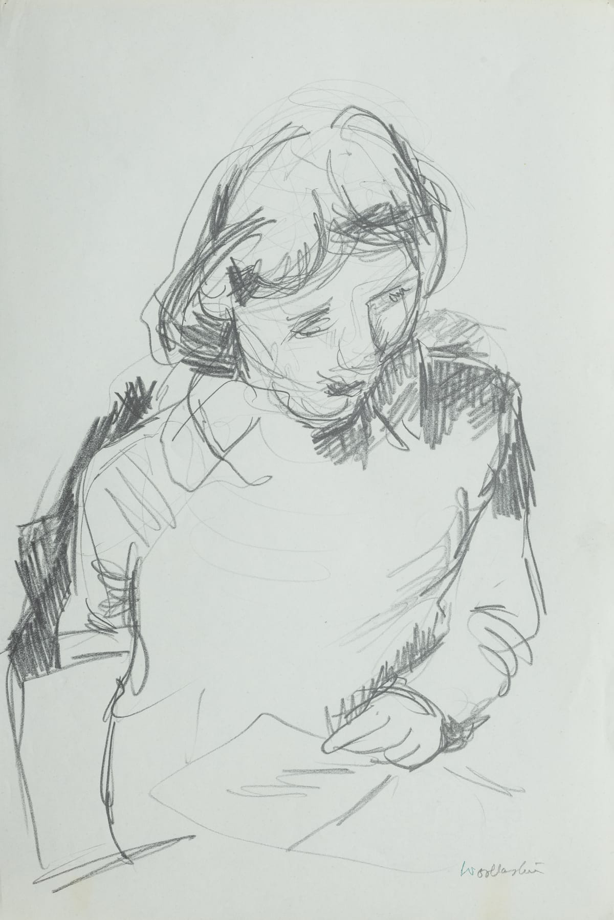 Mountford Tosswill Woollaston Female Figure - Upper Half, ND pencil on paper 375mm x 250mm