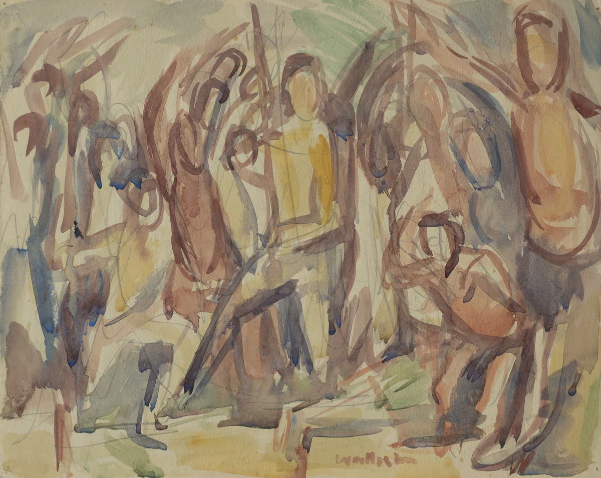 Mountford Tosswill Woollaston Prisoners of War from Newspaper (group of figures), ND watercolour and pencil on paper 247mm x 310mm