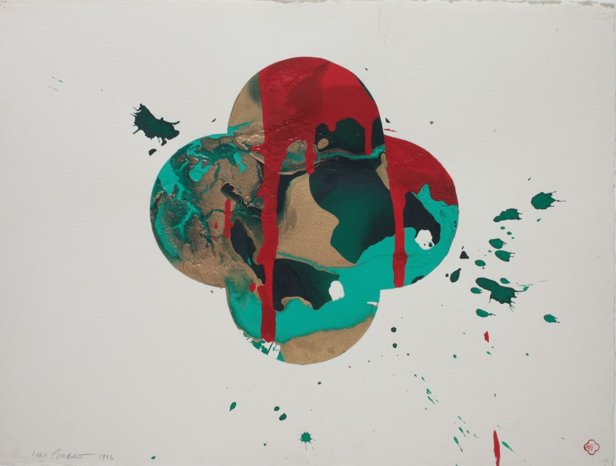 Max GIMBLETT Bay of Islands, 1986 Acrylic polymer and metallic pigment on Arches Aquarelle Watercolour Paper 584 x 775 mm 765 x 950 mm (framed)