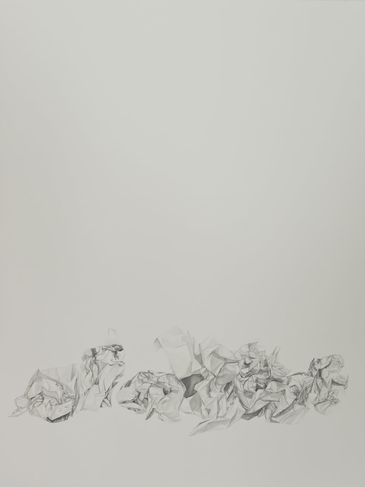 Marita Hewitt Waste Paper Series; Self Portraits, Blindfolded, 2015 Graphite on paper 45.3 x 34.3 in 115 x 87 cm