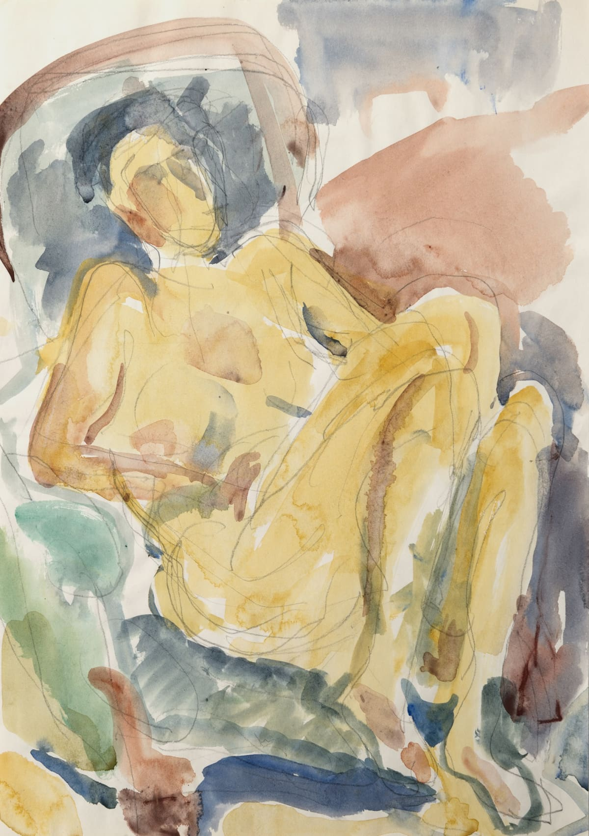 Mountford Tosswill Woollaston Untitled [Nude in Chair] (4), c. 1984 Watercolour and pencil on paper 16.7 x 11.8 in 42.5 x 30 cm