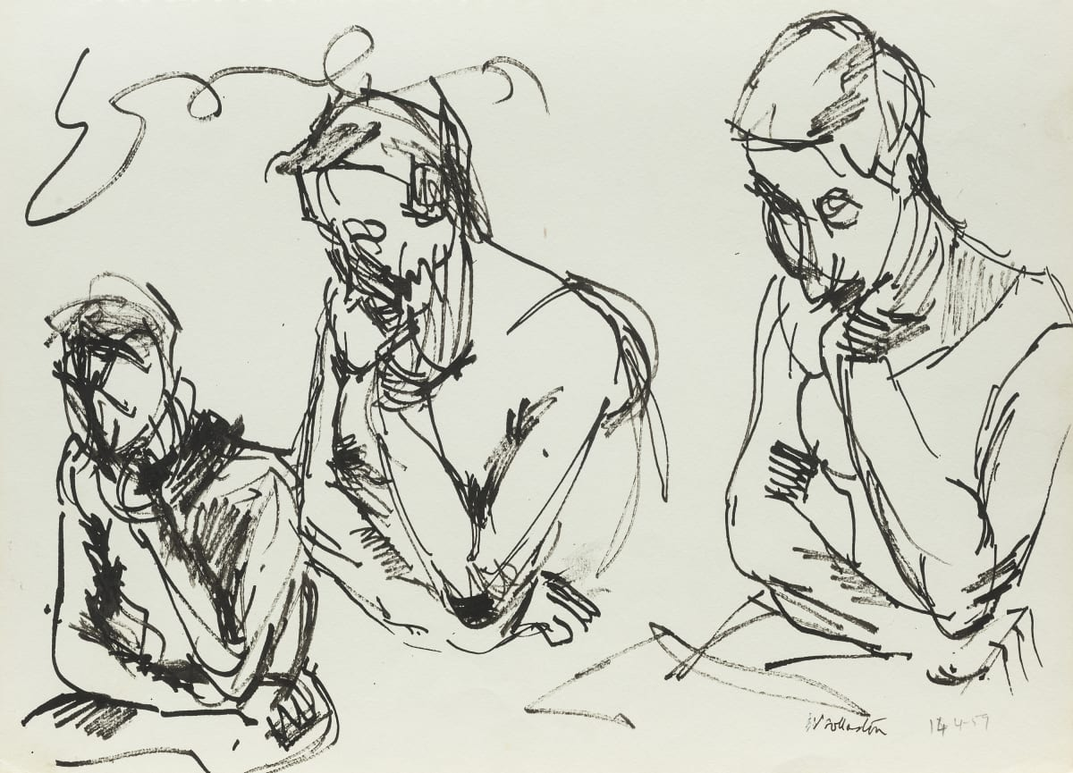 Mountford Tosswill Woollaston Three of One Sitter (three contemplative figures), 1959 pen and ink on paper 275mm x 375mm