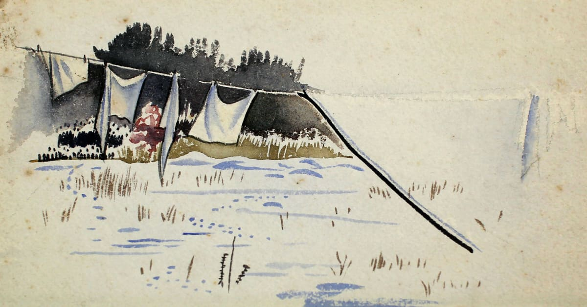 Rita Angus Untitled [Washing Line], n.d. Watercolour on paper 4.5 x 9.8 in 11.5 x 25 cm