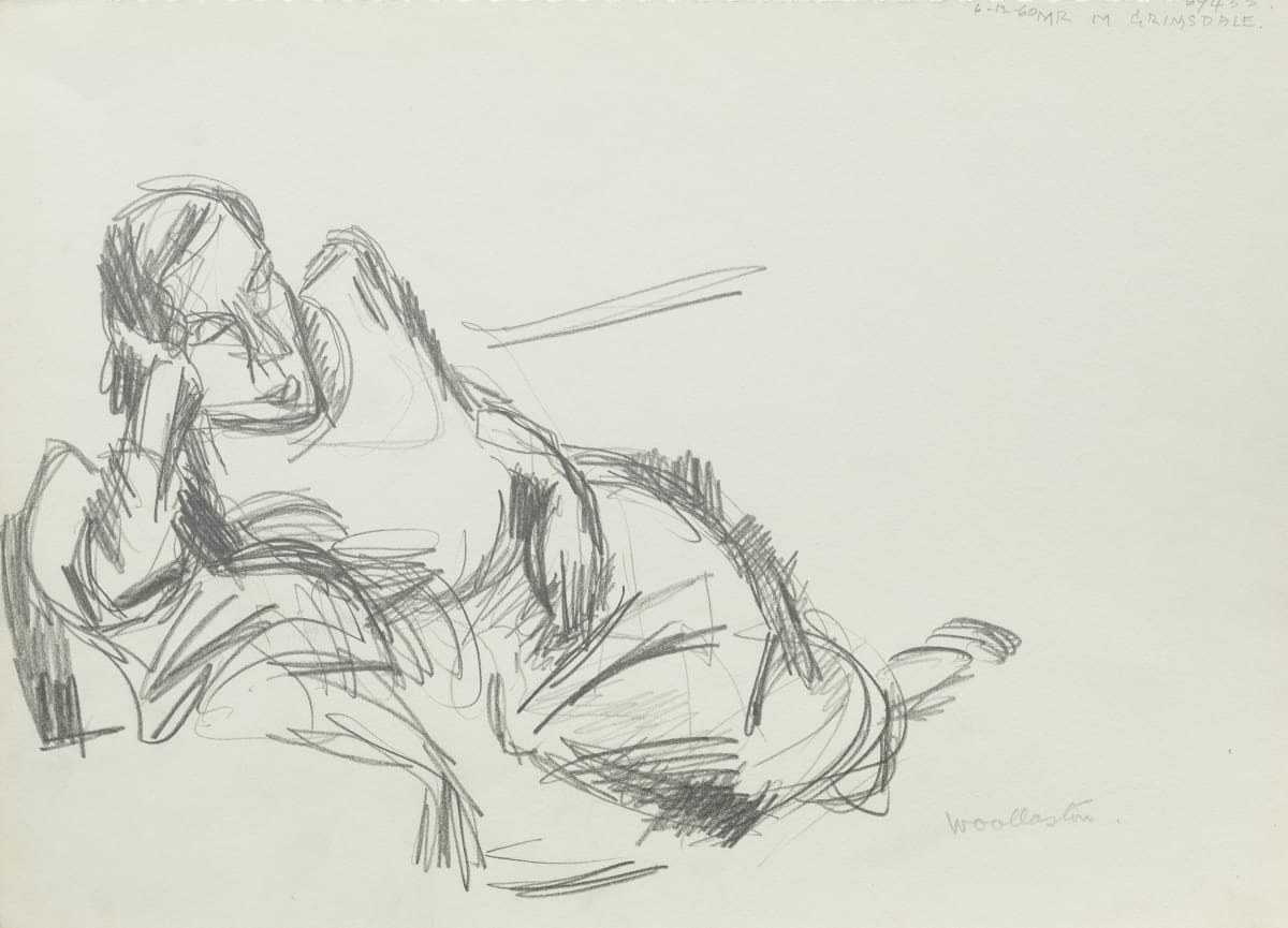 Mountford Tosswill Woollaston Reclining Woman, 1960 pencil on paper 275mm x 375mm