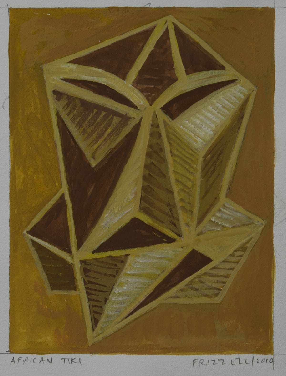 Dick FRIZZELL African Tiki, 2010 Gouache and pencil on paper 6.5 x 4.9 in 16.5 x 12.5cm 47 x 35.5cm (framed)