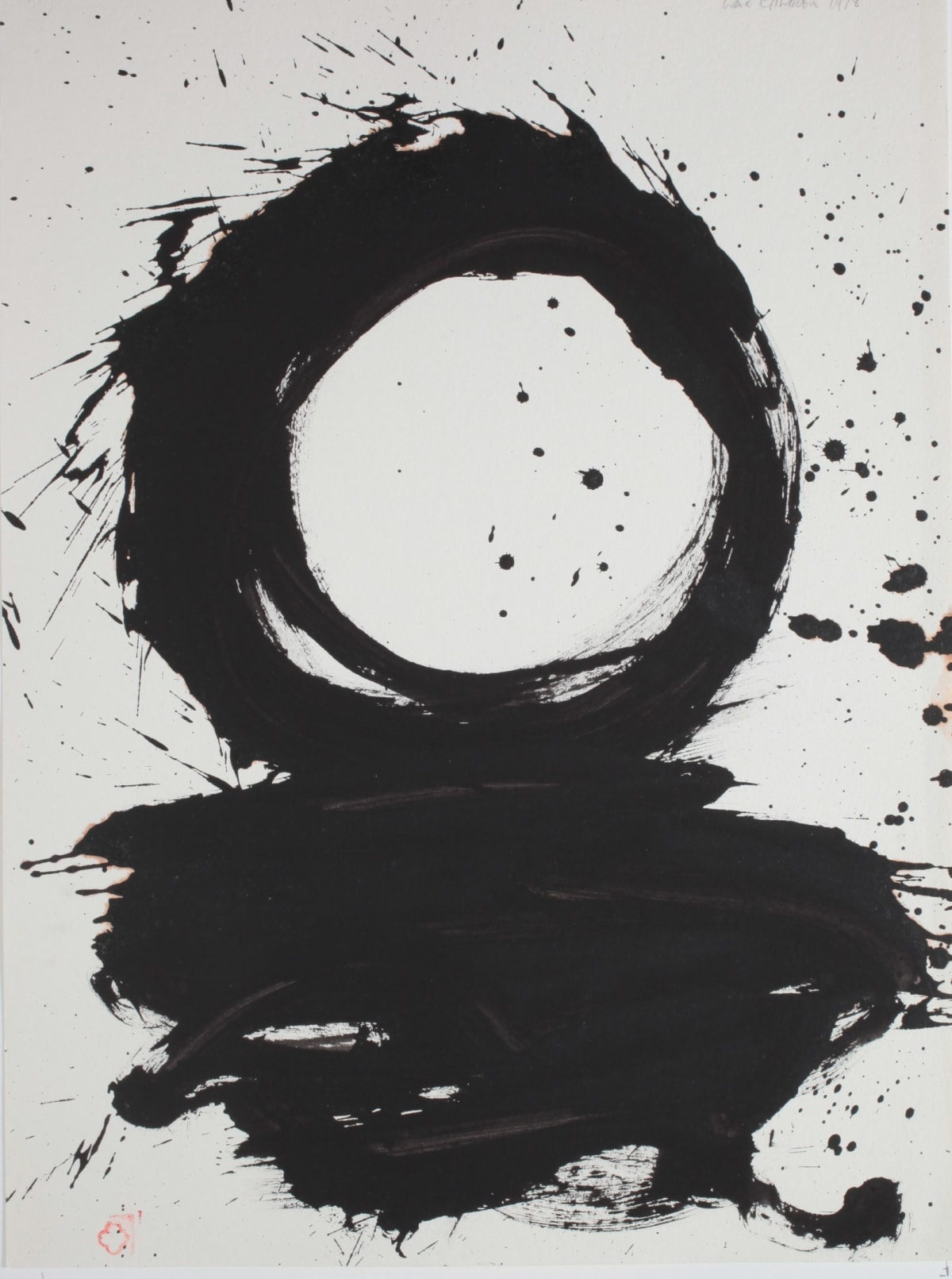Max GIMBLETT He's Hitting at a Ball on a Fast Flowing River - for Robert Motherwell, 1978 Sumi ink on hand made paper 30 x 25 in 76.2 x 63.5 cm