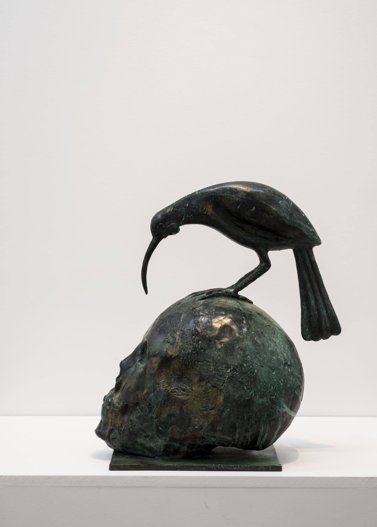 Paul DIBBLE Huia Talks to Death, 2017 Cast Patinated Bronze 16.9 x 15.7 x 7.9 in 43 x 40 x 20 cm