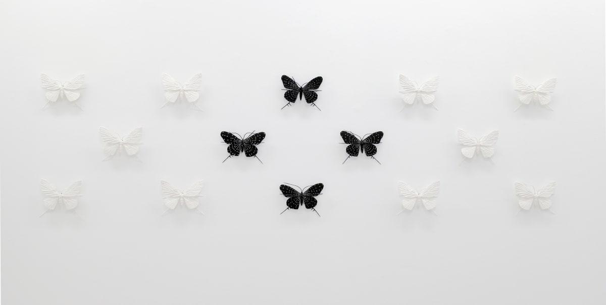 Elizabeth THOMSON The Black-and-Whites (III), 2017 Mixed media 23.6 x 90.6 in 60 x 230 cm