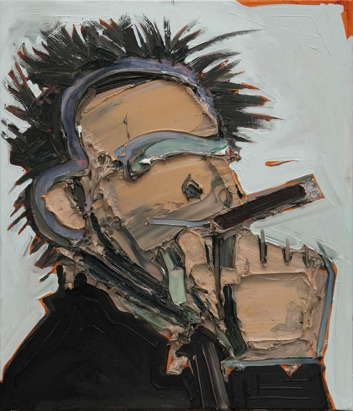 Toby Raine Jack Nicholson Smoking A Cigar, 2018 Oil on linen 70 x 60 cm 27 1/2 x 23 5/8 in