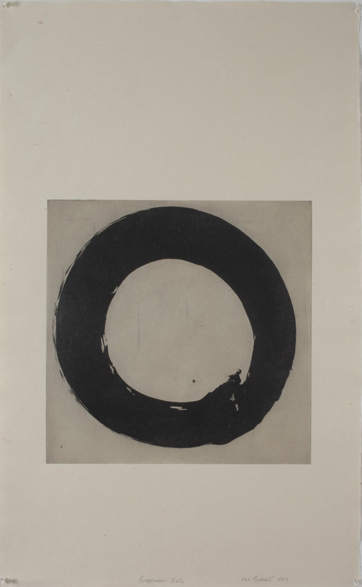 Max GIMBLETT Guggenheim Enso, 2009 Ink and photo etching transfer on paper 39.5 x 24.5 in 100.3 x 62.2 cm #7/25