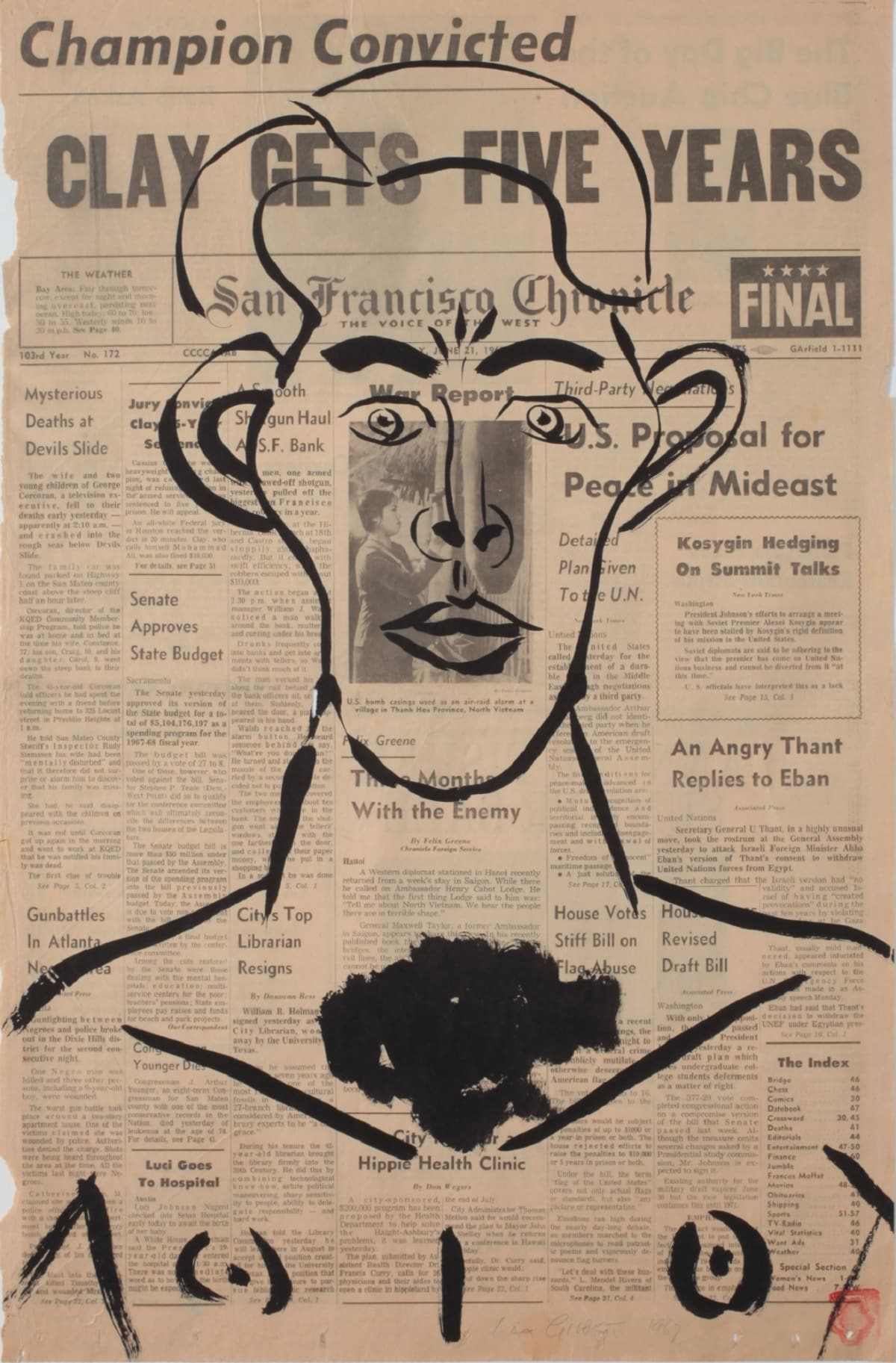Max GIMBLETT San Francisco Chronicle - Champion Convicted, 1967 Ink on newsprint 23 x 14 in 58.4 x 35.6 cm