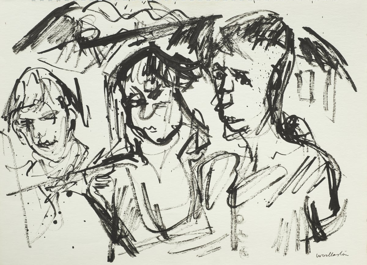 Mountford Tosswill Woollaston Children at Riwaka (three male heads and shoulders, with mountain range behind), 1958 ink on paper 275mm x 375mm