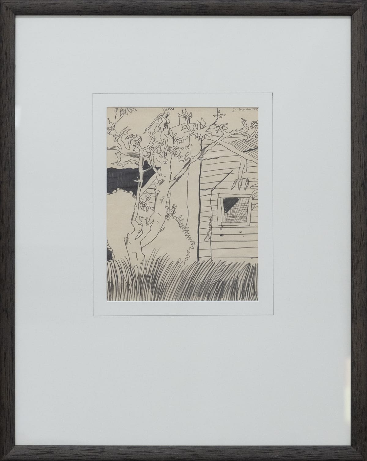 Jeffrey Harris Tree and House, 1970 Pencil on paper 590mm x 470mm (framed)