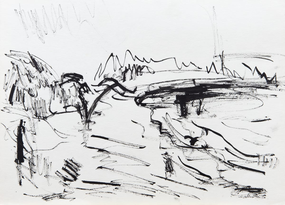 Mountford Tosswill Woollaston Mt Cook from Cobden Beach 1, 1960 Pencil and ink on paper 10.6 x 14.7 in 27 x 37.3 cm