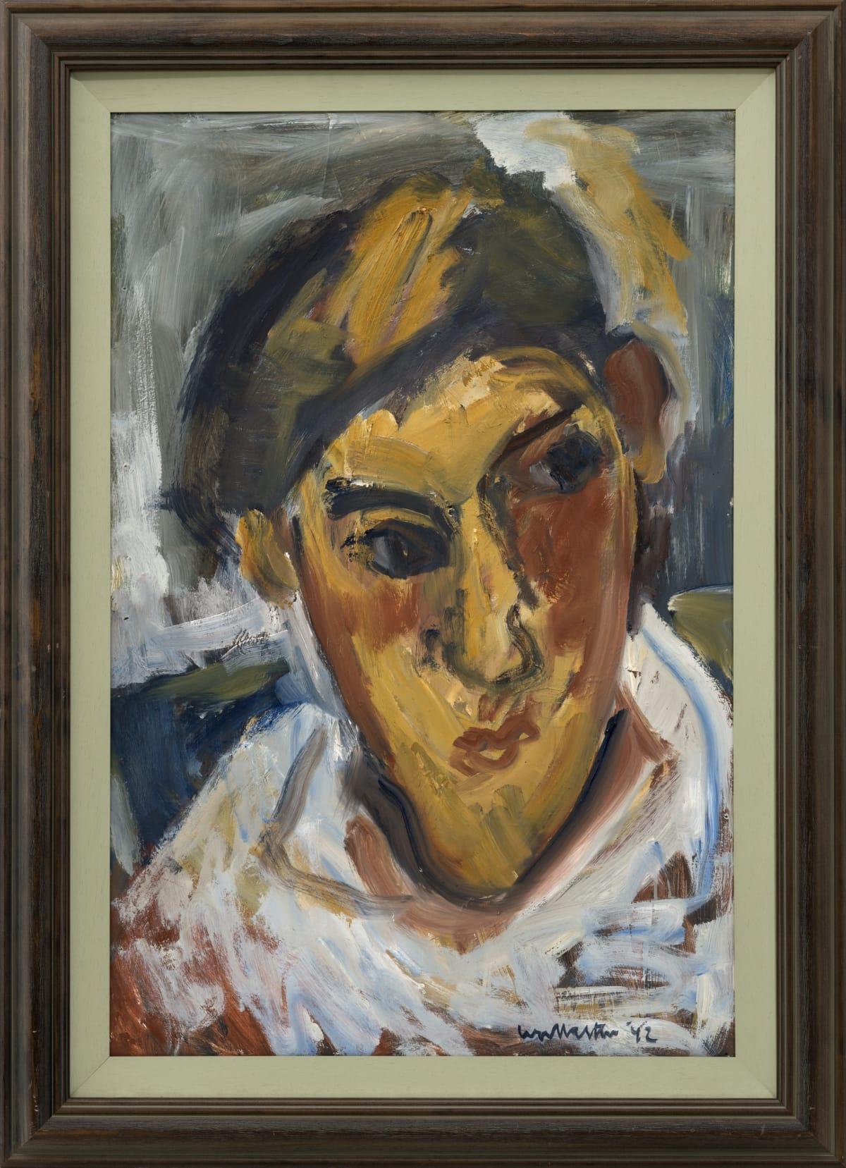 Mountford Tosswill Woollaston Portrait of Candace Orrah, 1992 Oil on board 33.7 x 22.2 x 18.5 in 85.5 x 56.5 x 47 cm
