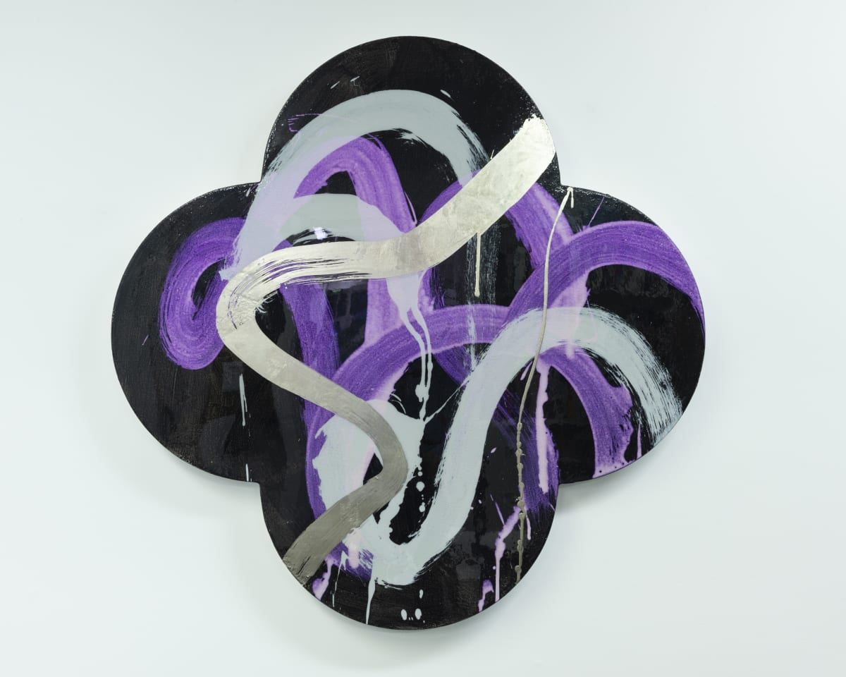 "Max GIMBLETT Offering, 2018 Acrylic, Aquasize, Platinum White Gold Leaf, Resin / Canvas 40"" x 40"""