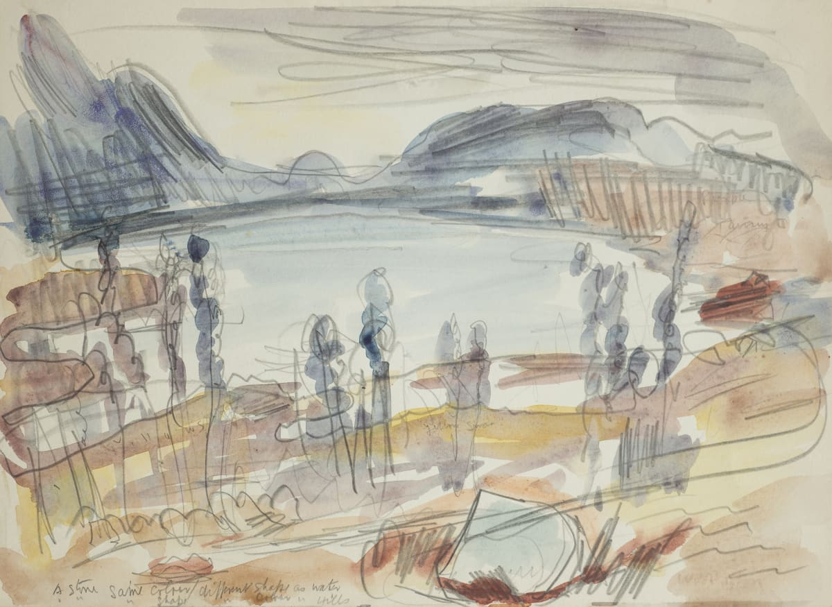 Mountford Tosswill Woollaston Lake Brunner, 1954 watercolour and pencil on paper 272mm x 373mm