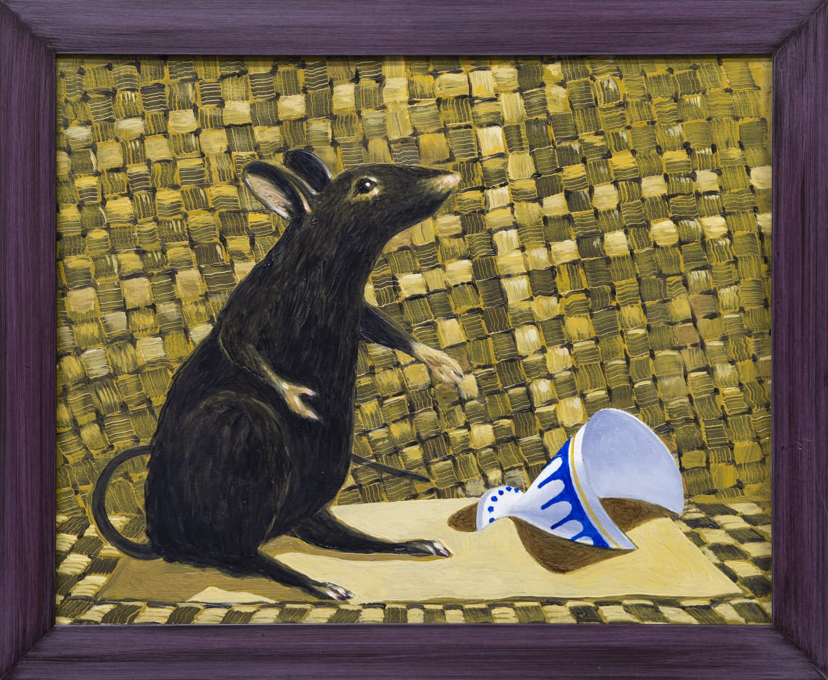 Derek Cowie Rat and Partially Buried Goblet, 2019 Oil on board 465 x 565mm