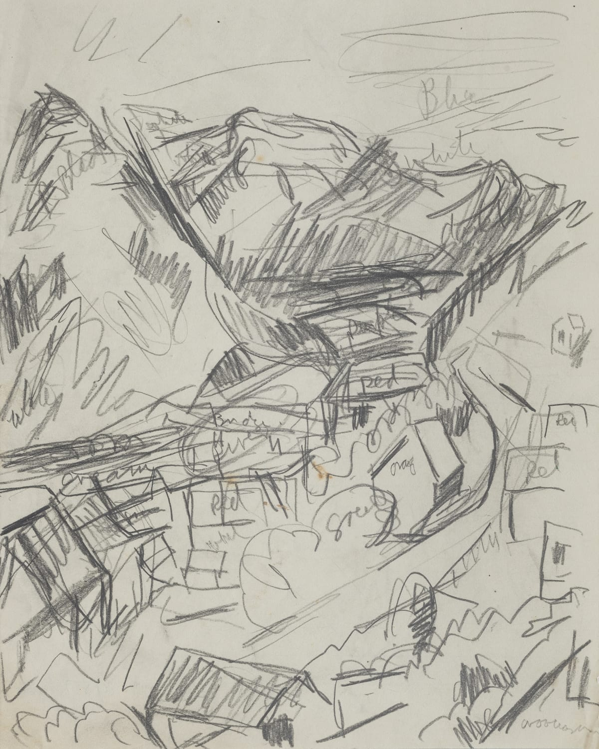 Mountford Tosswill Woollaston Greymouth (sketch, landscape with buildings), ND pencil on paper 225mm x 180mm