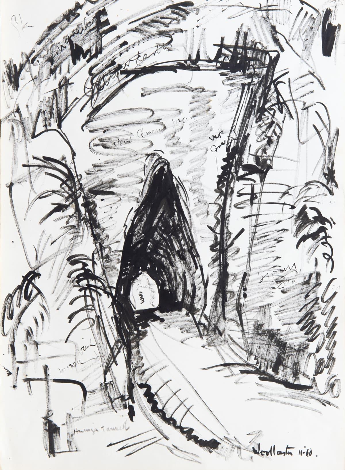Mountford Tosswill Woollaston Huinga Tunnel, 1960 ink on paper 375mm x 275mm