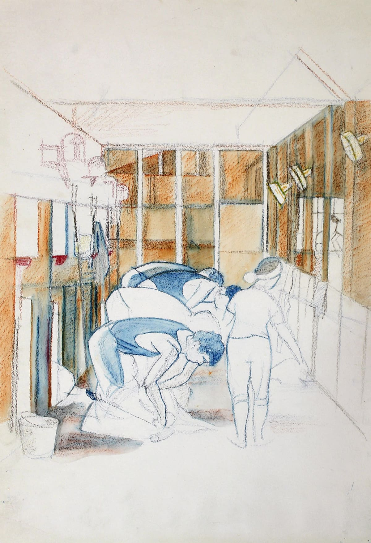 Rita Angus Shearing Scene, Takapau, 1965 Watercolour and crayon on paper 15.4 x 13.6 in 39 x 34.5 cm