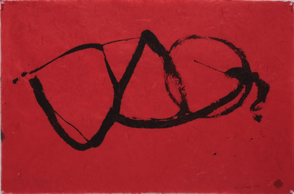 Max GIMBLETT The Red & the Black of it - For Sengai, 2014 Sumi ink on hand made paper 635 x 965 mm
