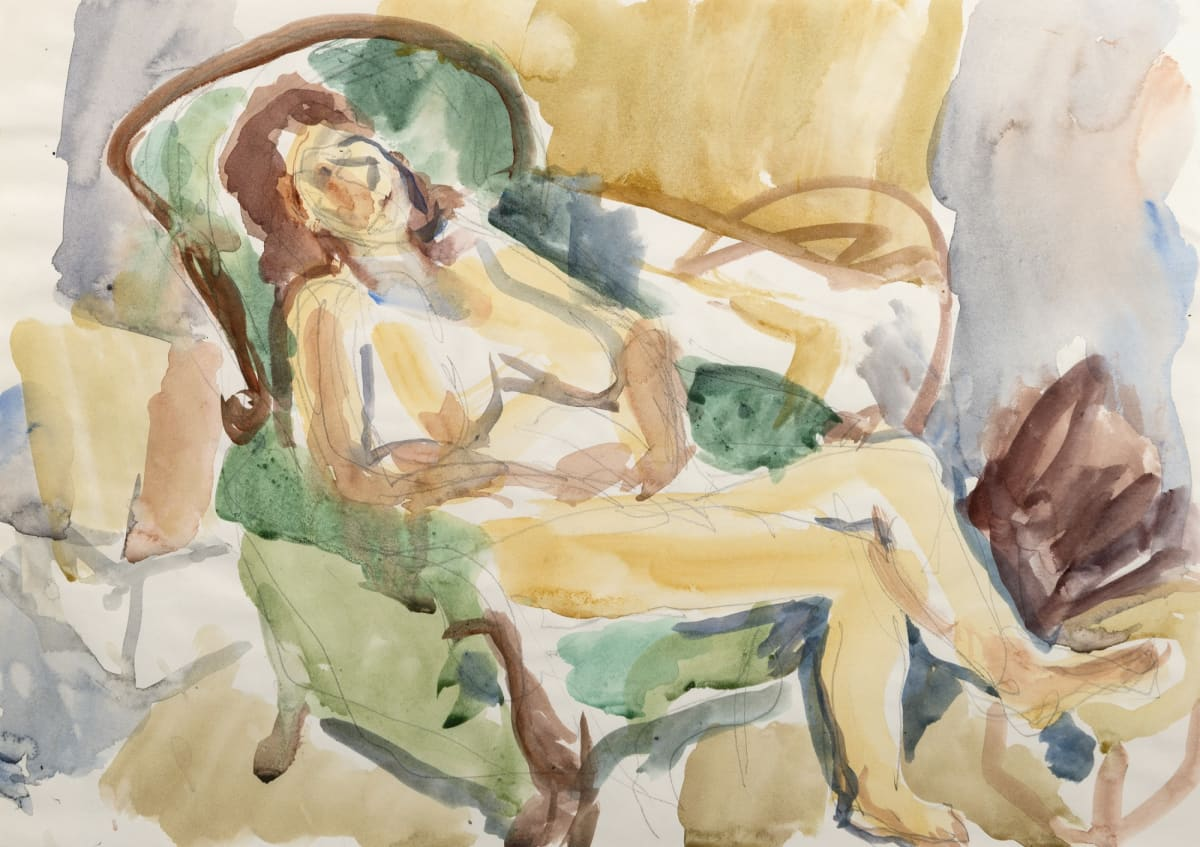 Mountford Tosswill Woollaston Untitled [Nude in Chair] (3), c. 1984 Watercolour and pencil on paper 11.8 x 16.7 in 30 x 42.5 cm