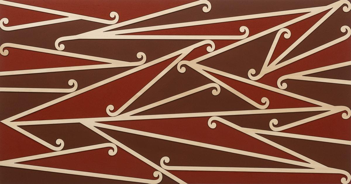 Ngataiharuru TAEPA Te Pupuke, 2018 Oxides and acrylic on wood 58 x 110 cm 22 7/8 x 43 1/4 in
