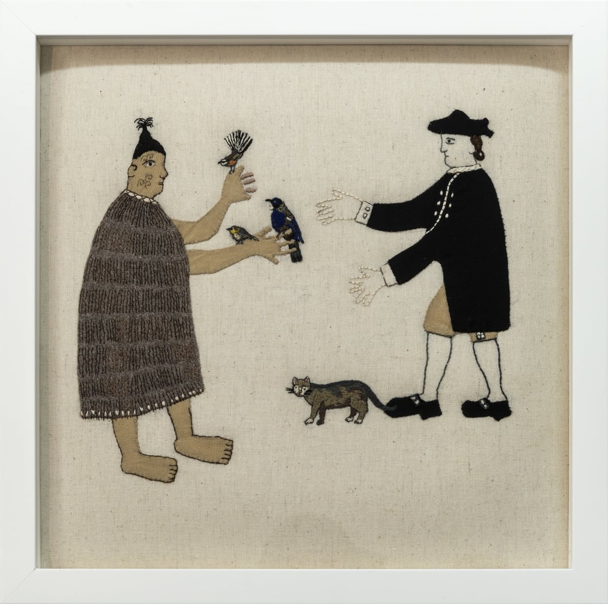 Sarah Munro Trade Item: Cat, Tui, Kereru, Piwakawaka, 2017 Cross-stitch 11.8 x 11.8 in 30 x 30 cm