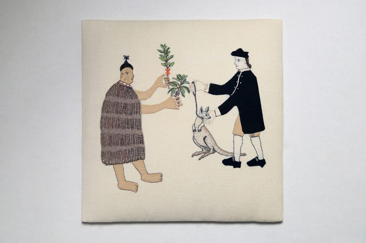 Sarah Munro Trade Item - Wallaby Karamu Mahoe, 2017 Cross-stitch 11.8 x 11.8 in 30 x 30 cm
