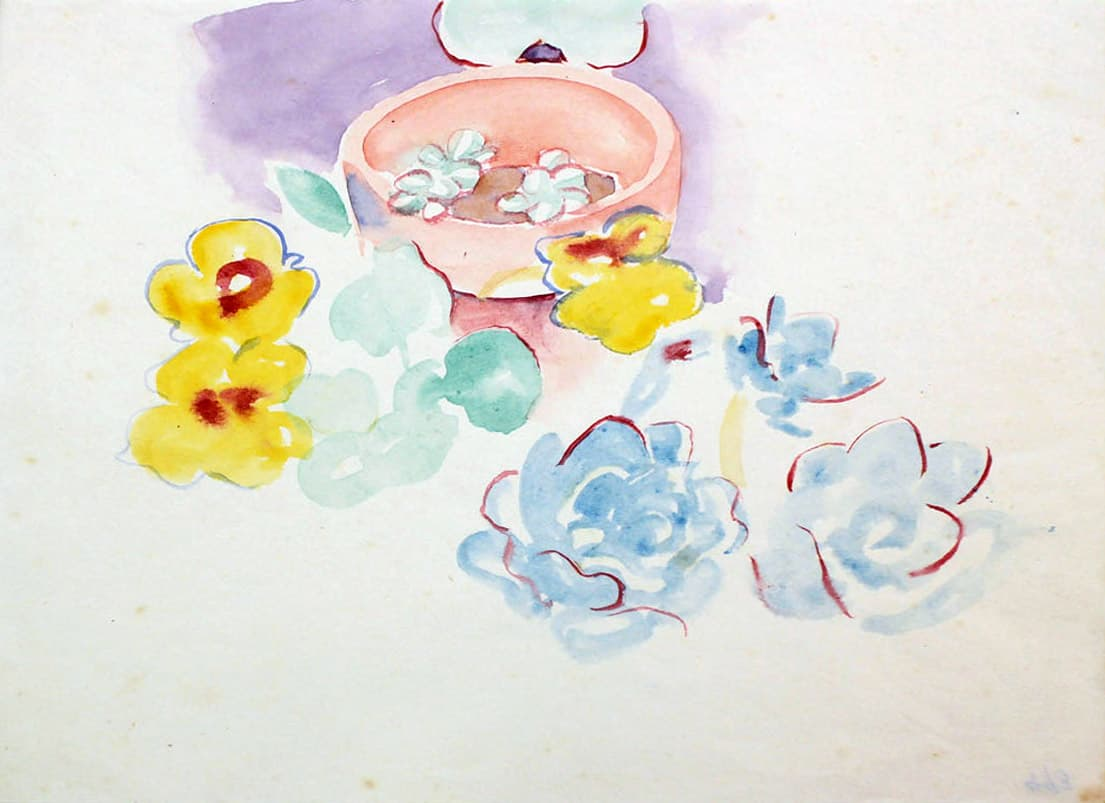 Rita Angus Flower Study (Waikanae), 1950s Watercolour on paper 7 x 8.9 in 17.9 x 22.7 cm