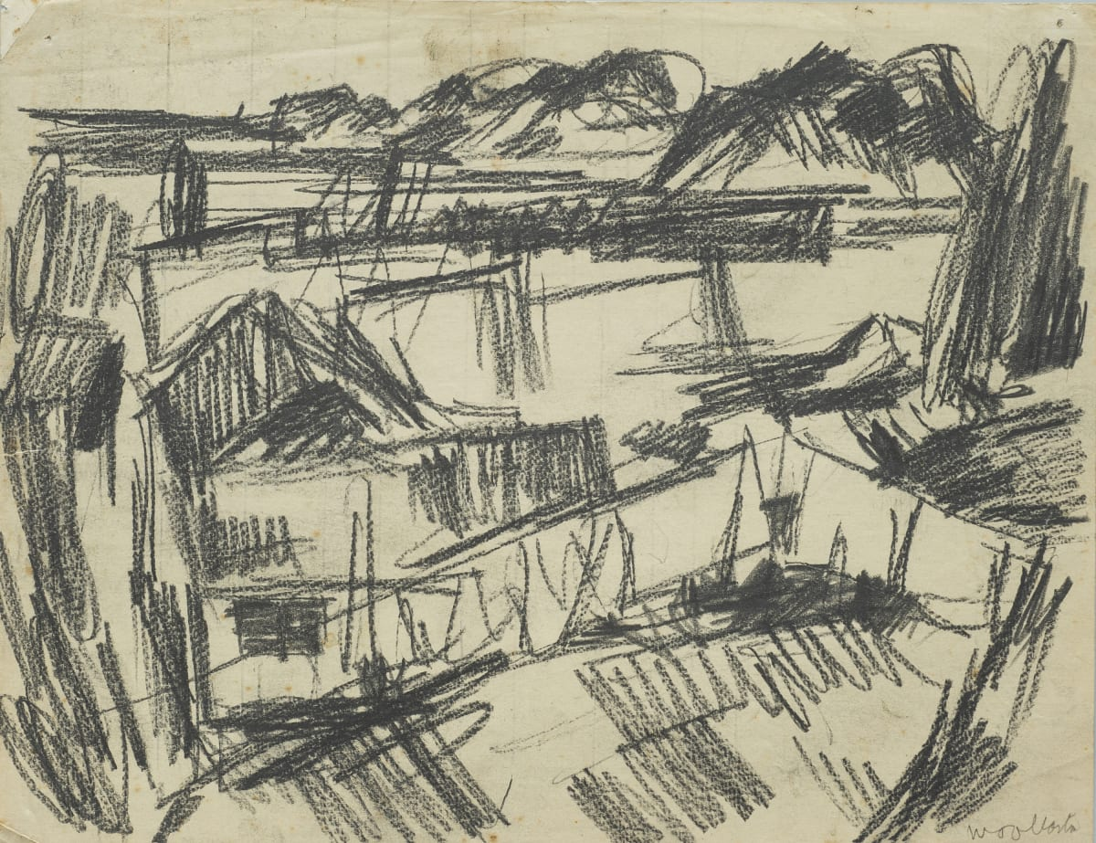 Mountford Tosswill Woollaston Our House with Washing on Line (landscape with building), c1945 crayon on paper 205mm x 265mm
