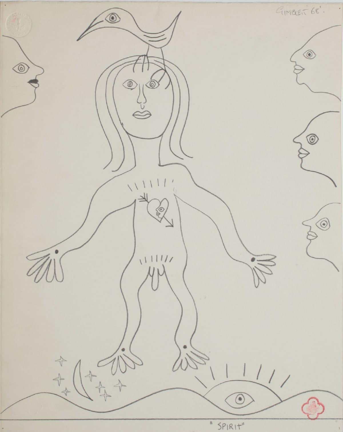Max GIMBLETT Spirit, 1968 Pencil on paper 14 x 11 in 35.6 x 27.9 cm