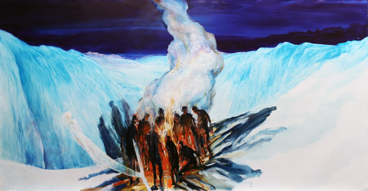 John WALSH Fire and Ice (with Euan Macleod), 2016 Oil on unstretched canvas 61 x 118.1 in 155 x 300 cm