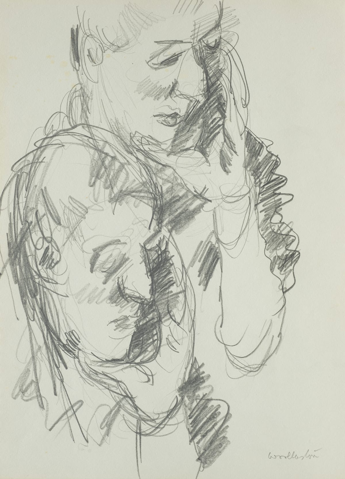Mountford Tosswill Woollaston David Graham (two heads with chins resting in hands), c1959 pencil on paper 375mm x 275mm