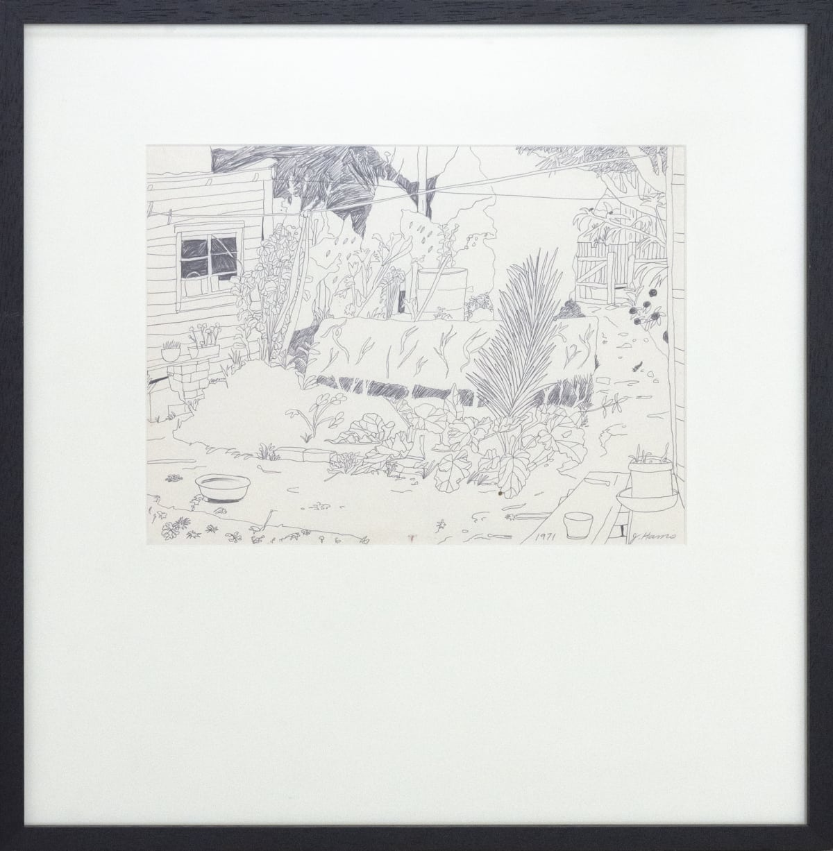 Jeffrey Harris Untitled [Backyard], 1971 Ink on paper 575 x 588mm (framed)