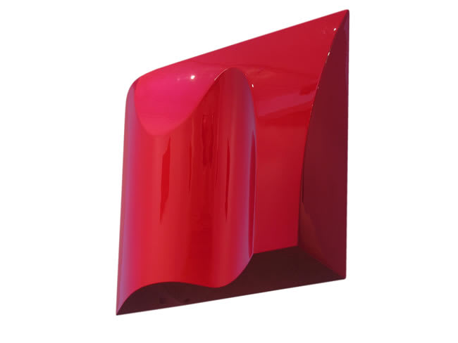 Sarah Munro Blood Red Object ISO, 2008 Automotive paint on fibreglass support 40.2 x 39.8 x 3.9 in 102 x 101 x 10 cm