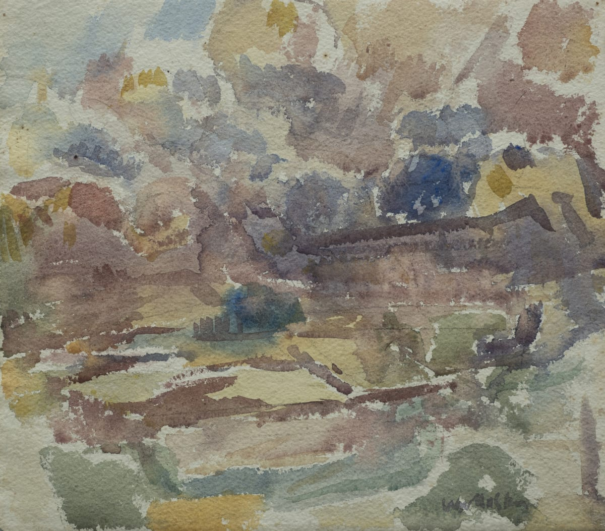 Mountford Tosswill Woollaston Westland at Kumara (landscape, clouds above), c1957 watercolour on paper 250mm x 285mm