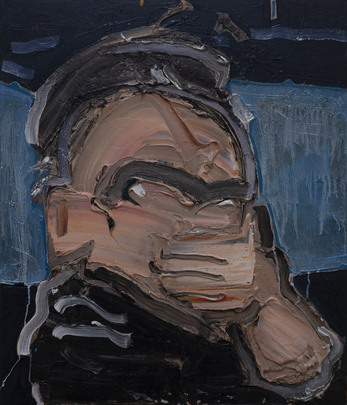 Toby Raine Dennis Hopper's Gas Mask (Hopper as Frank in 'Blue Velvet'), 2019 Oil on canvas 700 x 600mm