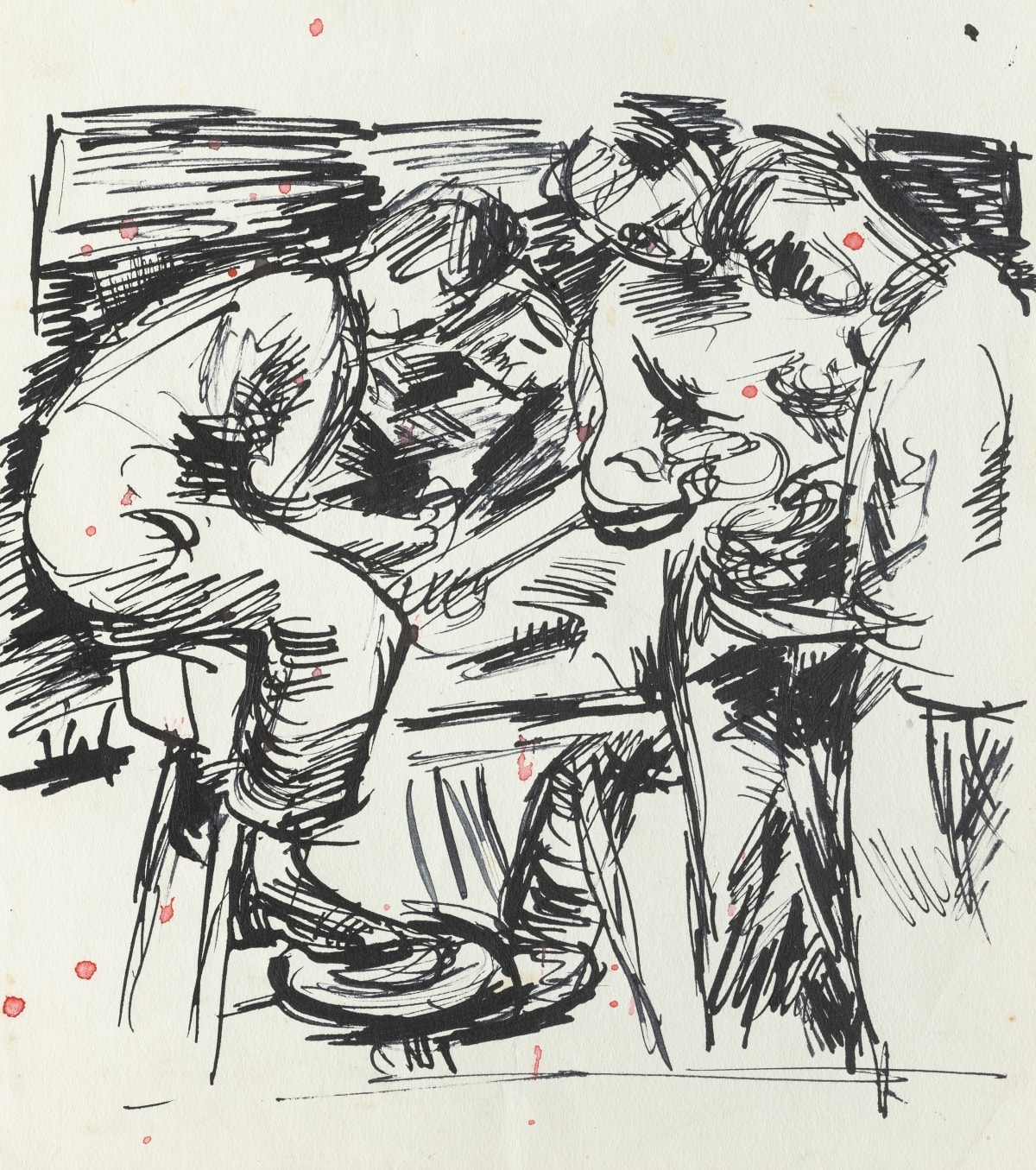 Mountford Tosswill Woollaston German Prisoners of War in England (the battery group, from newspaper), 1949 pen and ink on paper 245mm x 217mm