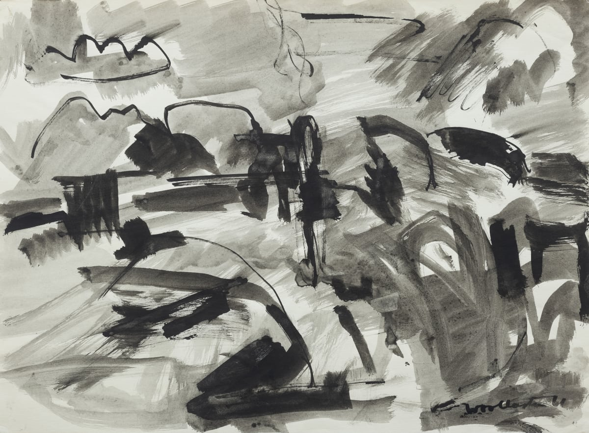 Mountford Tosswill Woollaston Looking Towards Dobson, 1961 ink on paper 275mm x 375mm