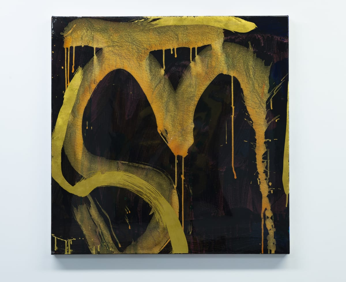 "Max GIMBLETT Cave's Edge, 2018 Acrylic, Aquasize, Swiss Gold Leaf, Resin / Canvas 30"" x 30"""