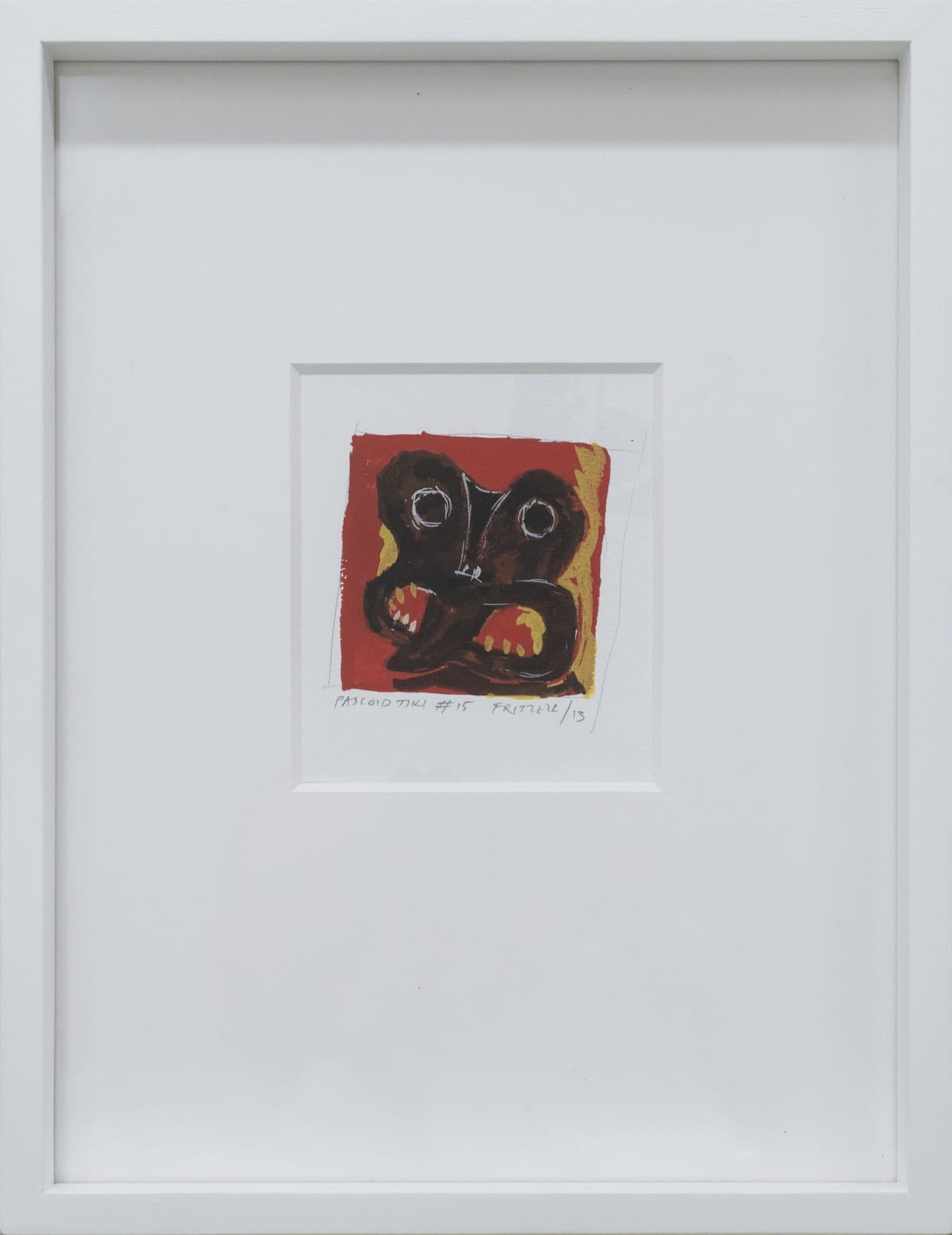 Dick FRIZZELL Pascoid Tiki #15, 2013 Gouache and pencil on paper 3.6 x 3.7 in 9.1 x 9.5 cm 38 x29cm (framed)