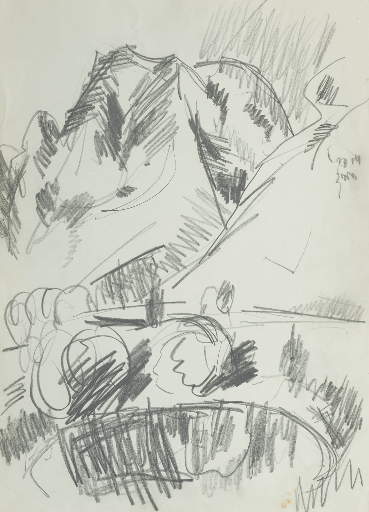 Mountford Tosswill Woollaston Takaka (pond and hill), 1961 pencil on paper 375mm x 275mm
