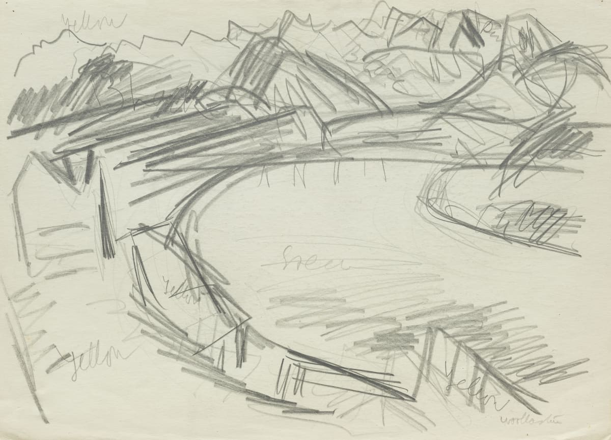 Mountford Tosswill Woollaston Hokitika River (sketch - view around bay, mountains in background), c1958 pencil on paper 275mm x 375mm